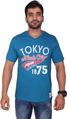 Black Chip Printed Men's V-neck Multicolor T-Shirt