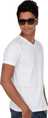 Furious Active Solid Men's V-neck White T-Shirt
