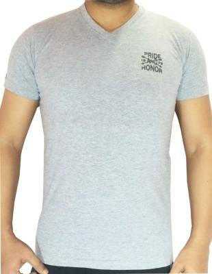flamingo Solid Men's V-neck Grey T-Shirt