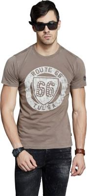Route 66 Printed Men's Round Neck Dark Green T-Shirt