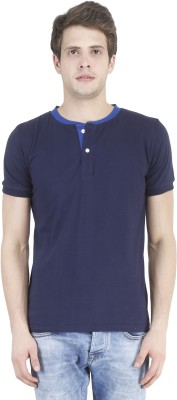 Bonzer Fashion Solid Men's Henley Dark Blue, Light Blue T-Shirt
