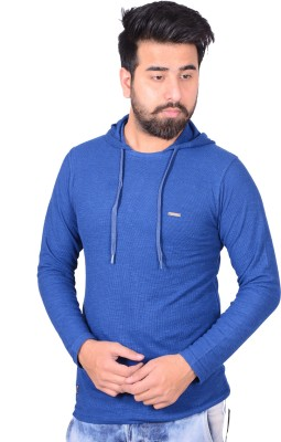 Zrestha Solid Men's Hooded Blue T-Shirt