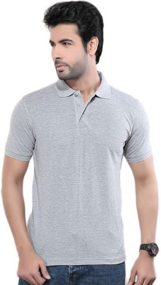 Friskers Solid Men's Polo Neck Grey T-Shirt