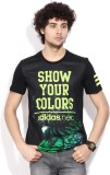 Adidas Printed Men's Round Neck Black T-...