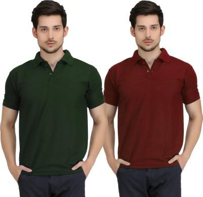 Krazy Katz Solid Men's Polo Neck Dark Green, Maroon T-Shirt