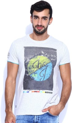Jn Joy Printed Men's Round Neck Grey T-Shirt