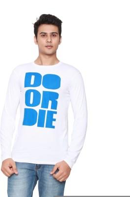 Online Maniya Self Design Men's Round Neck White T-Shirt