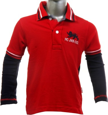 Fingerchips Self Design Boy,s Polo Red, Black T-Shirt
