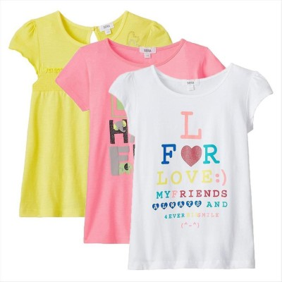 Sera Printed Girl,s Round Neck Multicolor T-Shirt