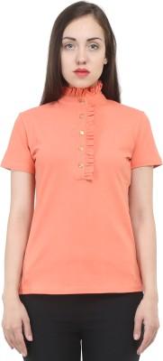 House Of Fett Solid Women's Polo Neck Orange T-Shirt