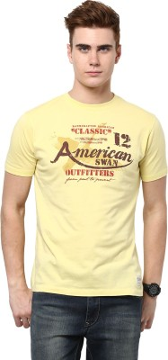 American Swan Graphic Print Men's Round Neck Yellow T-Shirt
