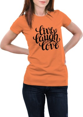 Girlful Printed Women's Round Neck Orange T-Shirt