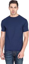 Vostrum Solid Men's Round Neck Dark Blue T-Shirt