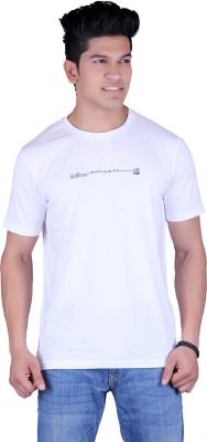 Vivid Bharti Printed Men's Round Neck White T-Shirt