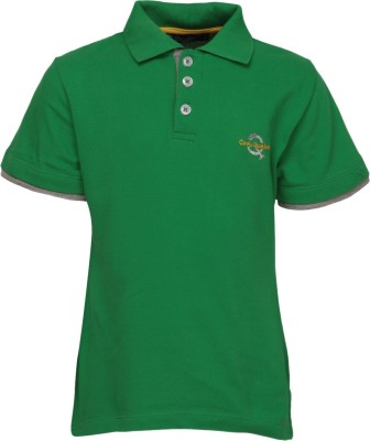Cool Quotient Solid Boy's Polo Neck Green T-Shirt