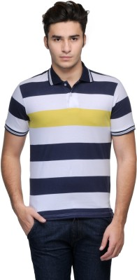 Global Nomad Striped Men's Polo Neck Dark Blue T-Shirt