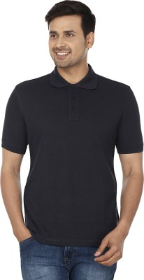 Wills Lifestyle Solid Men's Polo Blue T-Shirt