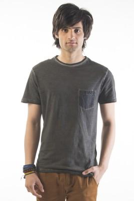 Srota Solid Men's Round Neck Grey T-Shirt