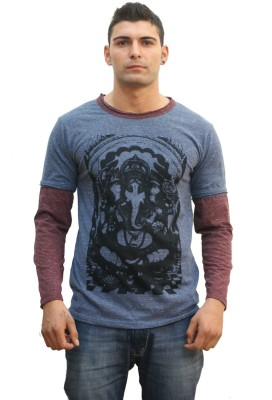 TUNTUK Printed Men's Round Neck Maroon, Grey T-Shirt