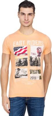 IQ Printed Men,s Round Neck Orange T-Shirt