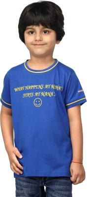 NautieCutie Printed Boy,s Round Neck Dark Blue T-Shirt