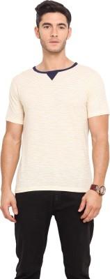 Northern Lights Striped Men's Round Neck White, Yellow T-Shirt