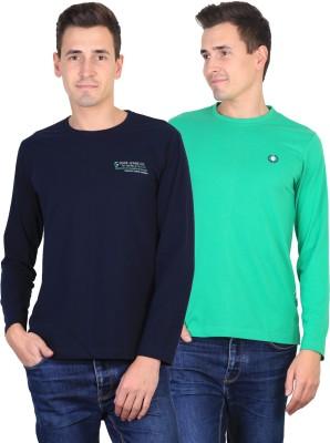 Duke Solid Men's Round Neck Blue, Green T-Shirt