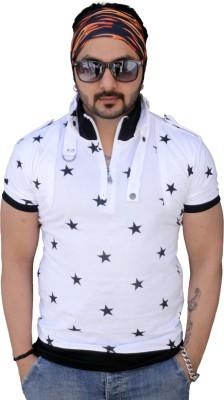 Black Collection Printed Men's Flap Collar Neck White T-Shirt