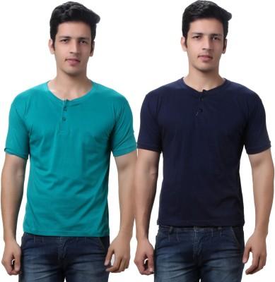 TeeMoods Solid Men's Henley Dark Blue, Green T-Shirt