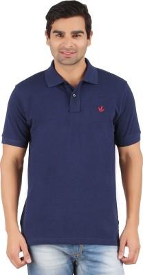 Lavos Solid Men's Polo Neck Dark Blue T-Shirt