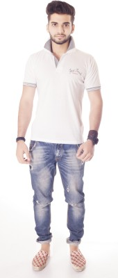 Fast Track Solid Men's Fashion Neck White T-Shirt