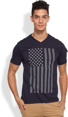 Arise Printed Men's V-neck Dark Blue T-Shirt
