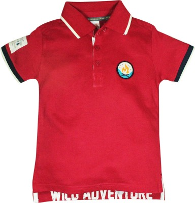 FS Mini Klub Printed Boy's Polo Red T-Shirt