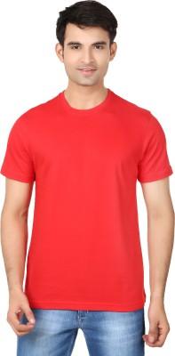 Essentiele Solid Men's Round Neck Red T-Shirt