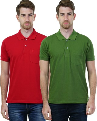 Seaboard Solid Men's Polo Neck Red, Green T-Shirt