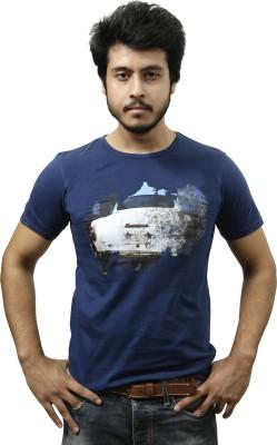 Gypsy Soul Graphic Print Men's Round Neck Dark Blue T-Shirt