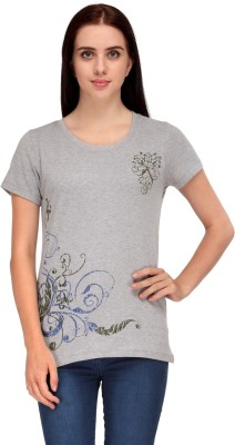 Aspasia Printed Women's Round Neck Grey T-Shirt