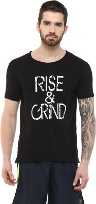 JC FITNESS Printed Men's Round Neck Black T-Shirt