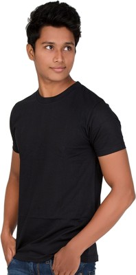 Furious Active Solid Men's Round Neck Black T-Shirt