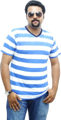 East West Striped Men's V-neck Blue, White T-Shirt