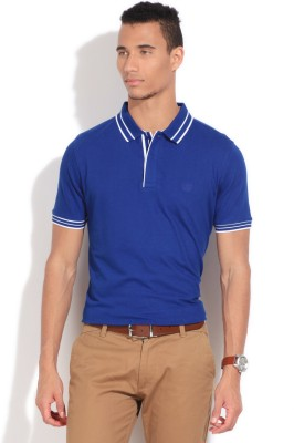 Van Heusen Solid Men's Polo Blue T-Shirt