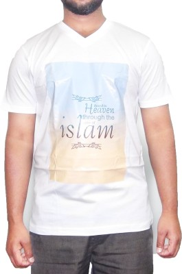 pious fashion club Printed Men,s, Boy's V-neck White T-Shirt