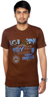 AADUKI Printed Men's Round Neck Brown T-Shirt