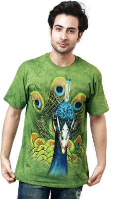 The Mountain Printed Men's Round Neck Green, Blue T-Shirt