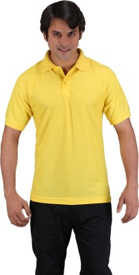 Aqua Solid Men's Polo Neck Yellow T-Shirt