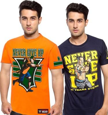 WWE Printed Men's Round Neck Dark Blue, Orange T-Shirt