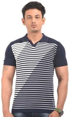 Alvinroyalspirit Striped Men's Polo Neck T-Shirt