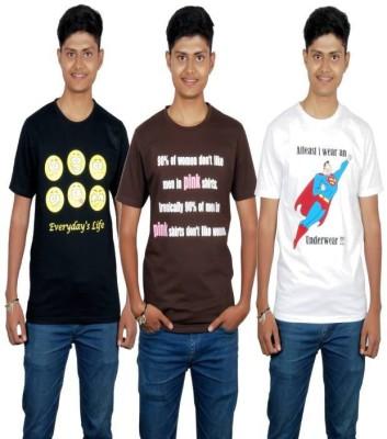 Molecules Printed Men's Round Neck Black, Brown, White T-Shirt