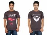 Crazeis Printed Men's Round Neck Grey T-...