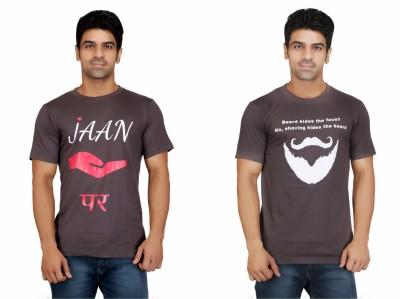 Crazeis Printed Men's Round Neck Grey T-Shirt